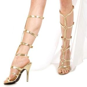 6351152d500 Gold knee high gladiator strappy heels